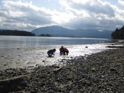 Treasure hunters at Capernwray beach
